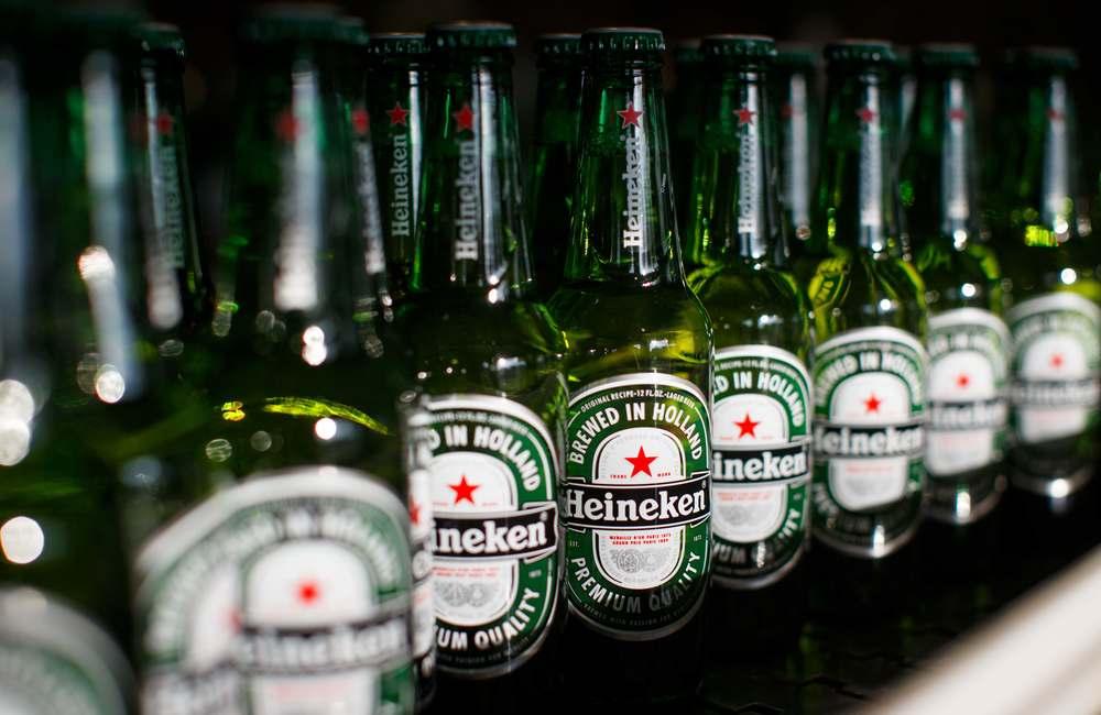 Bottles on the Heineken production line.