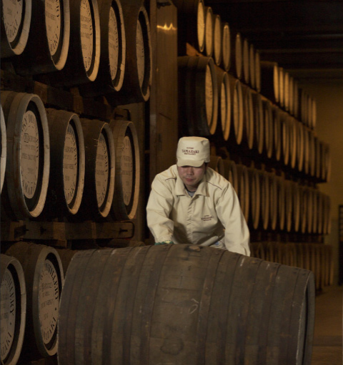 Barrels being rolled at the Suntory distillery.