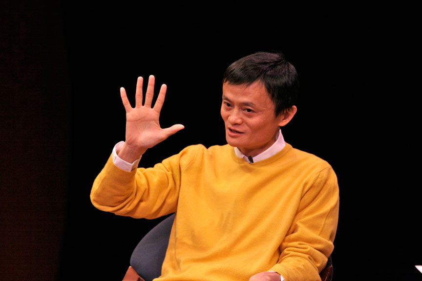 Jack Ma, self-made founder of Alibaba, speaking at the World Economic Forum. Photo: WEF