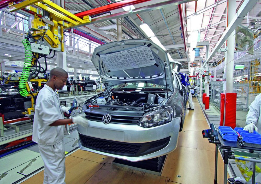 An employee at VW's South African plant. Photo: Volkswagen