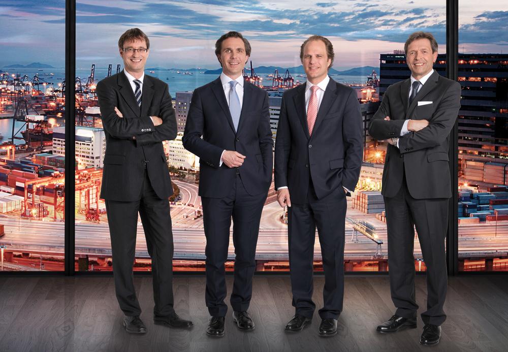 The Gebrüder Weiss management board: Peter Kloiber, Wolfram Senger-Weiss, Heinz Senger-Weiss and Wolfgang Neisser.