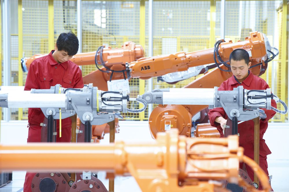 Robots built by ABB at a factory in Shanghai. Photo: ABB.