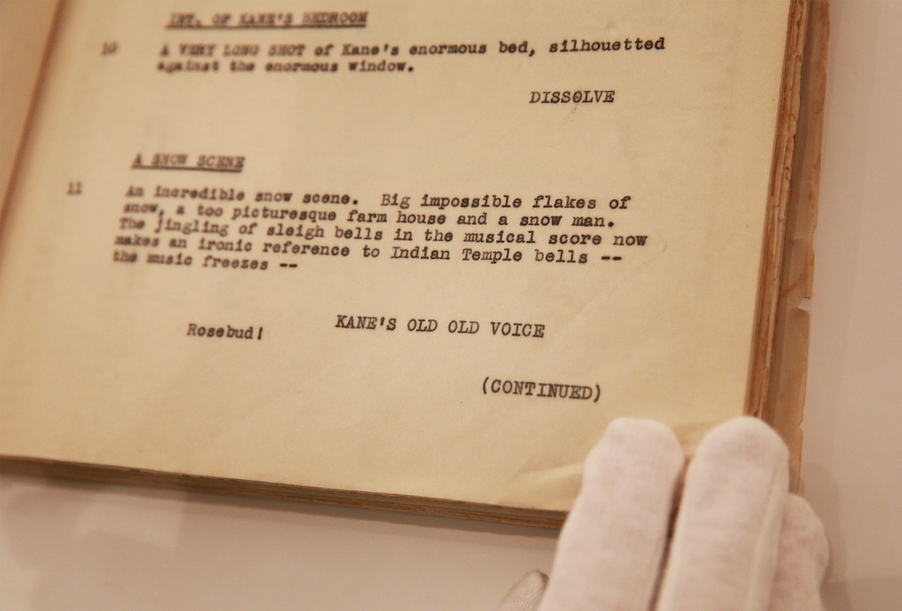 The original script from the film Citizen Kane with the immortalised word: