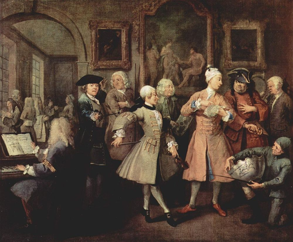 A scene from William Hogarth's  The Rake's Progress  - Nepotism at its most visceral
