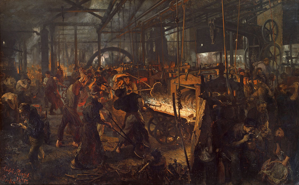 Family offices are often part of the operating business -The Iron Rolling Mill by Adolph Menzel