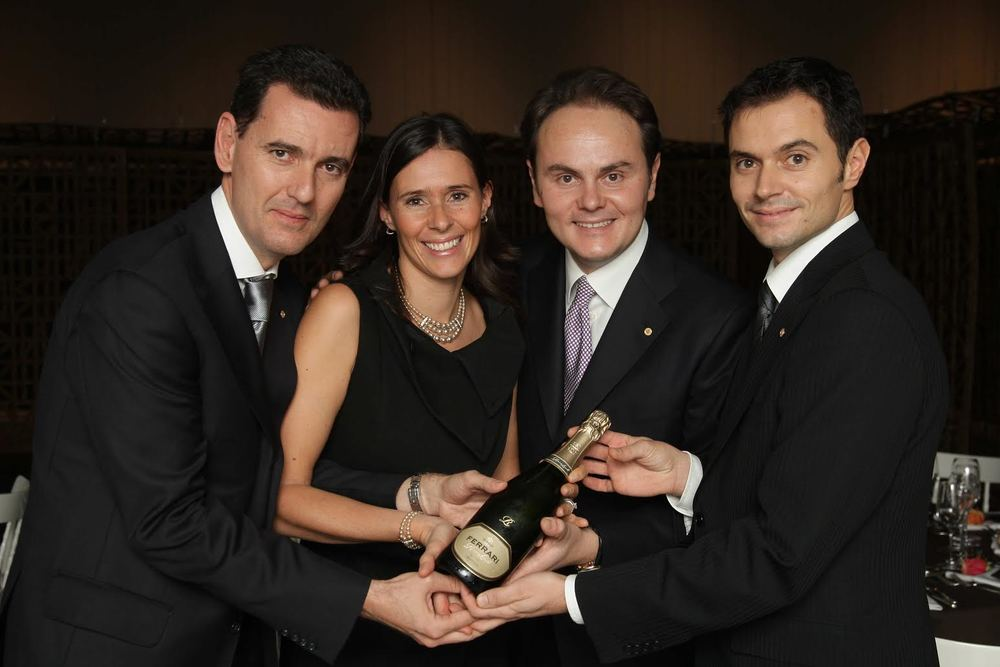 The Ferrari of sparkling wine and members of the family, including Matteo, second from the right, that own it and run it