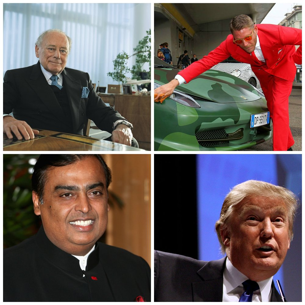 All hugely successful, but partial to a few luxuries... Photo: Donald Trump, Wikimedia, others listed below