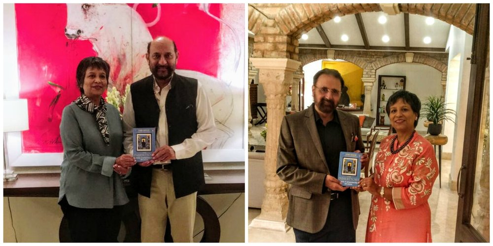 The author of The Inheritors with the Dhingra brothers (Kuldip left and  Gurbachan right) and her book      Photos: supplied by the author