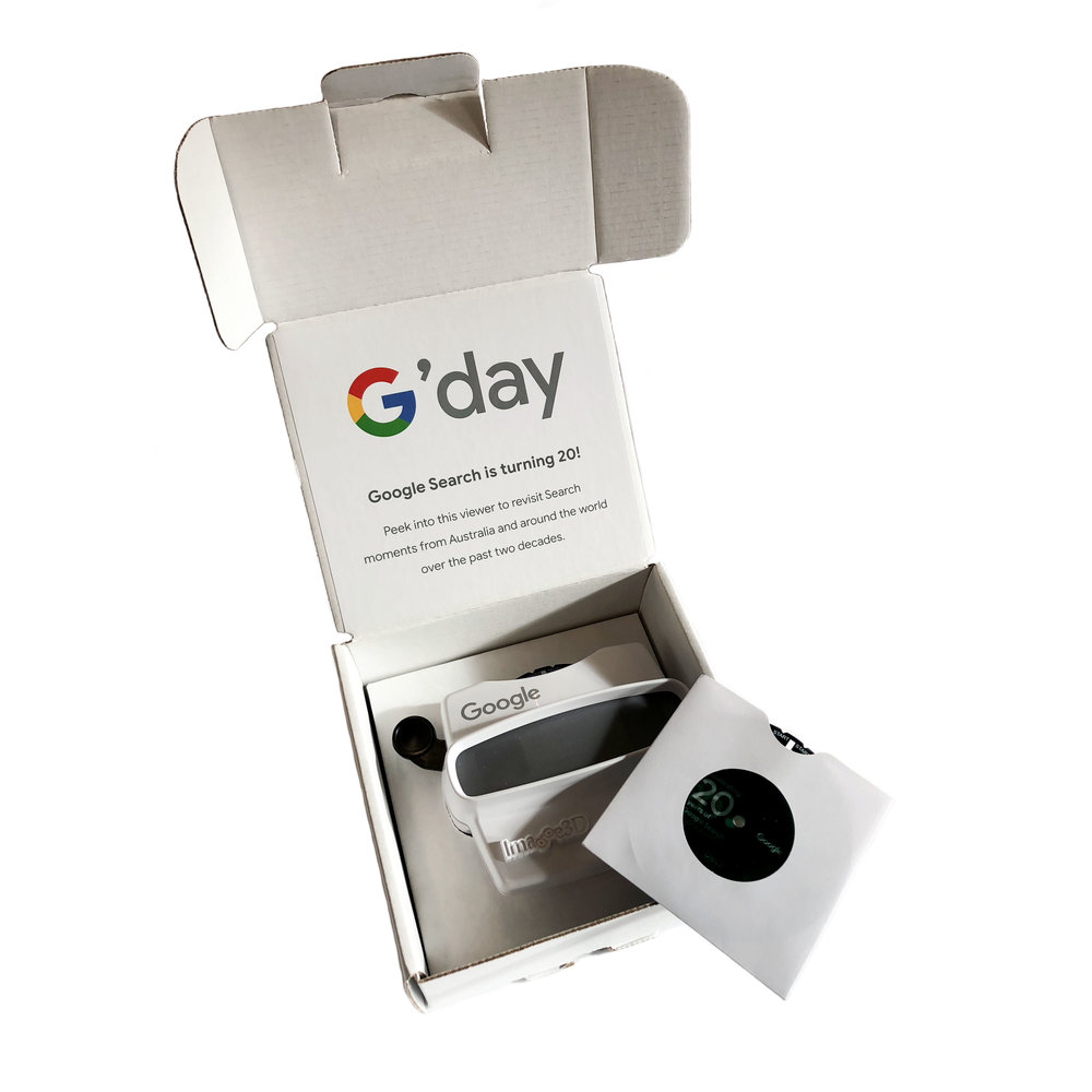 Objective - This nostalgic viewfinder was created to build local excitement and celebrate Google Search's 20th anniversary. It was sent to social media influencers in the lead up to the day.