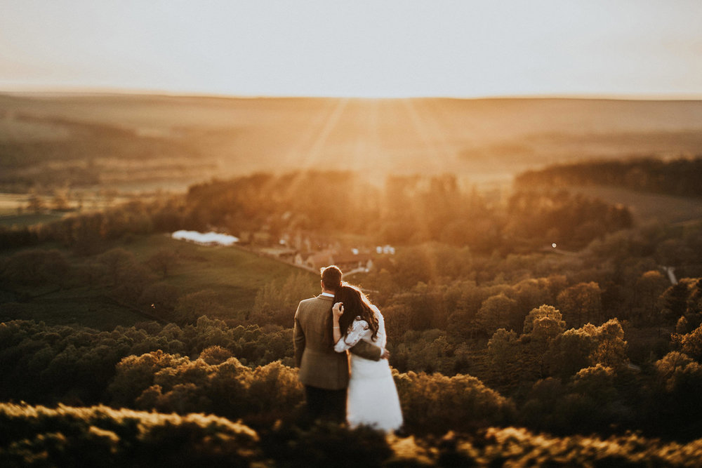 yorkshire couple enjoying wedding landscape