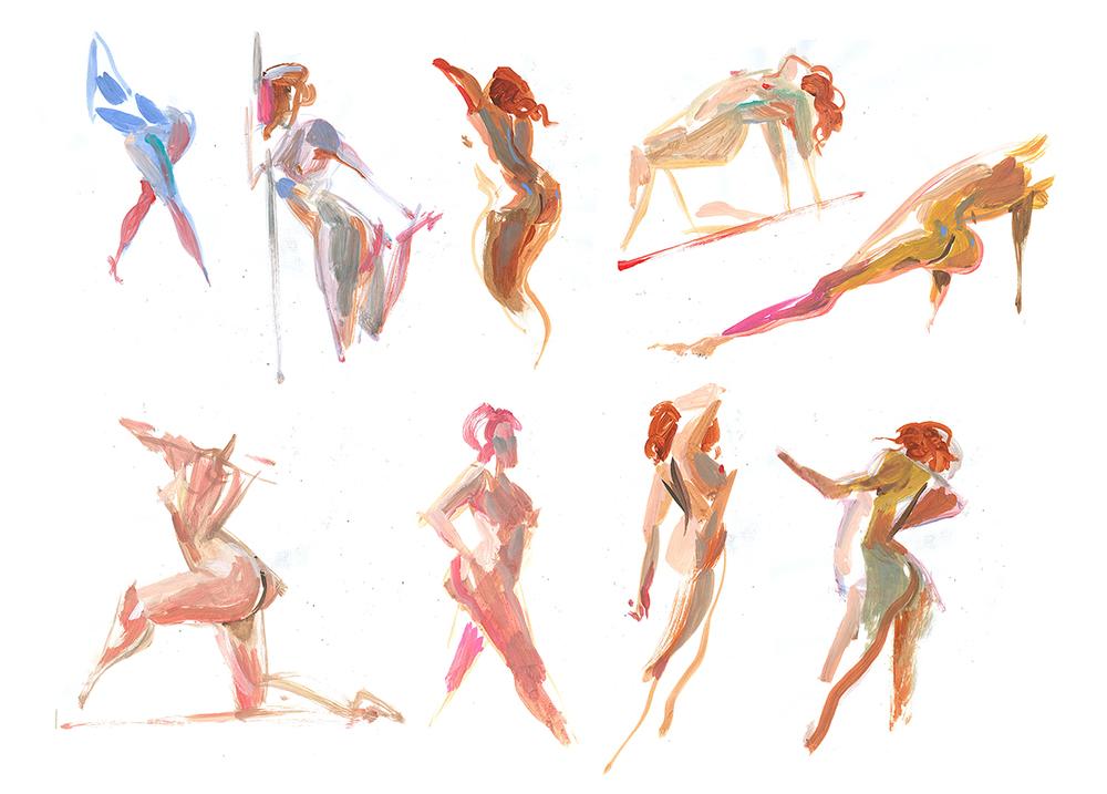 3 min acrylic studies