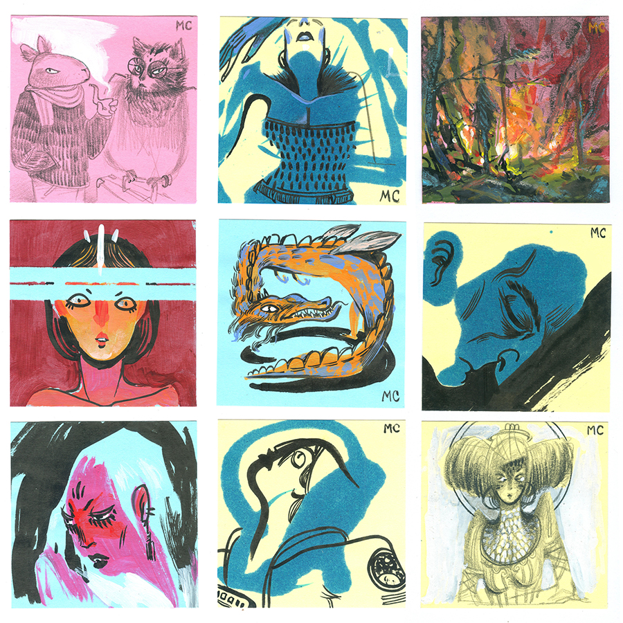 Post-It art created for annual show at Giant Robot
