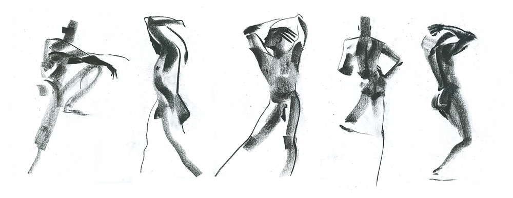 Charcoal, 3 min poses