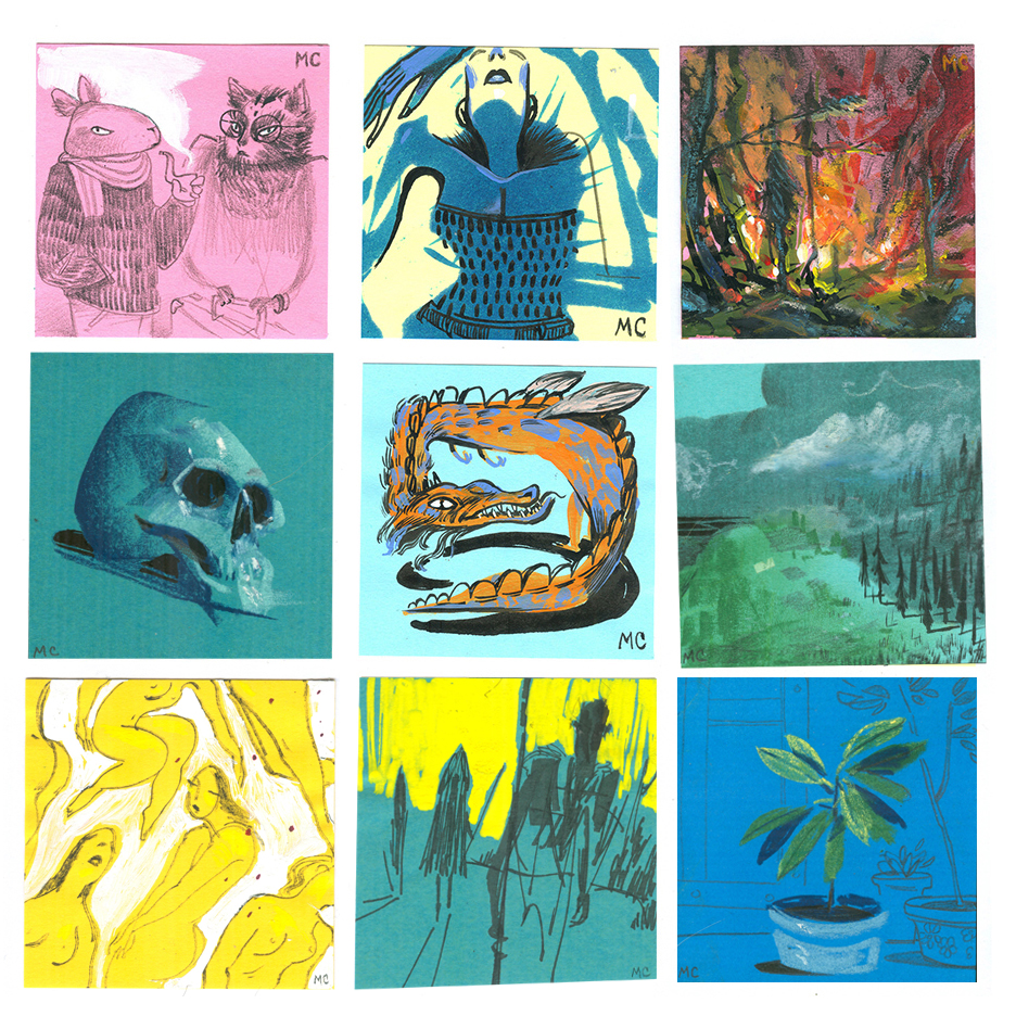 "Mini paintings for  Giant Robot's  annual show.  Mixed media on ""Post-its"""