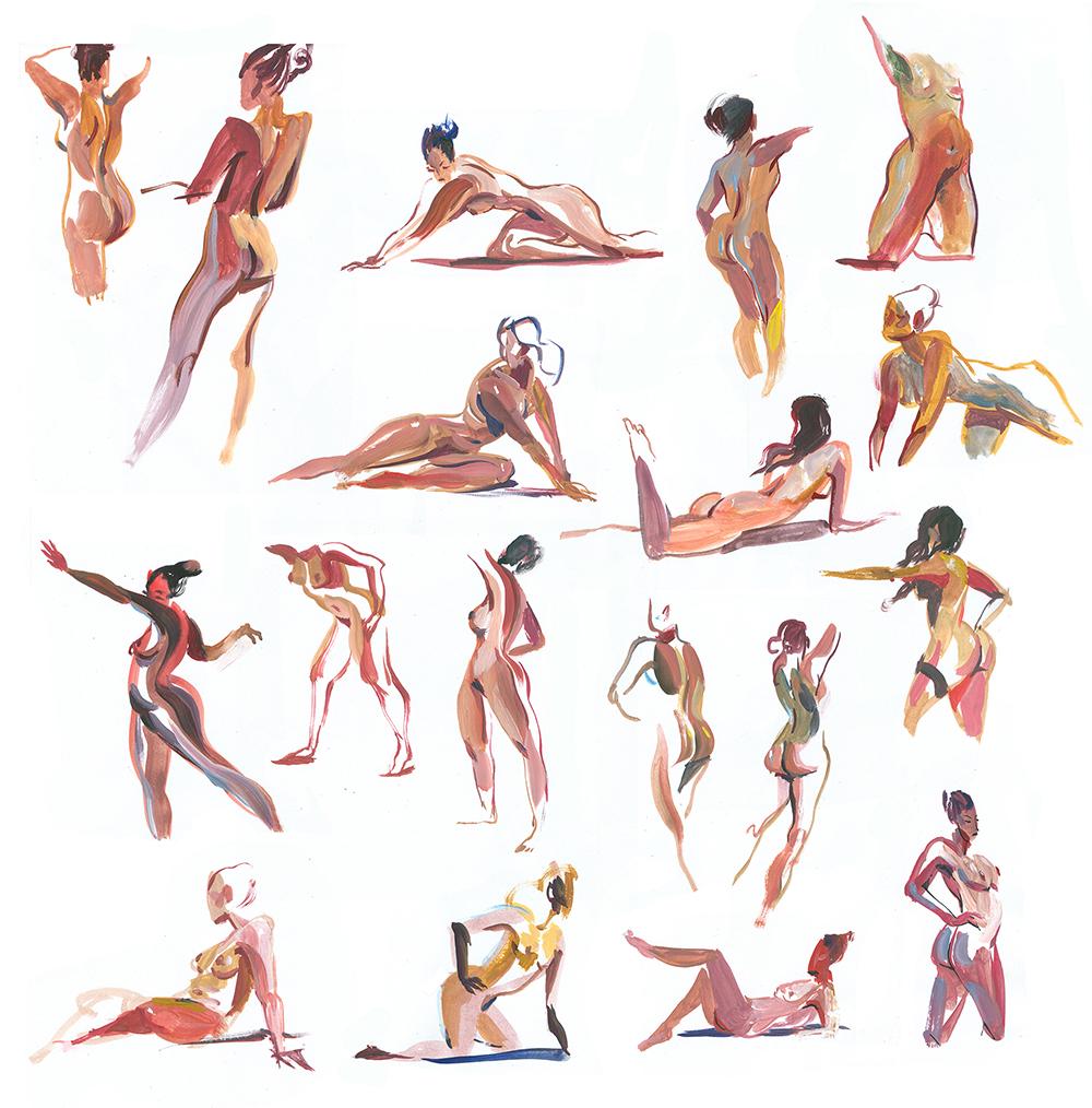 Gouache, 2-3 min poses