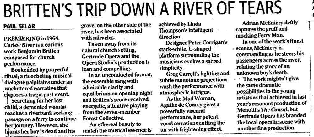 Review from the Herald Sun, June 2nd 2015 for  Curlew River , Benjamin Britten