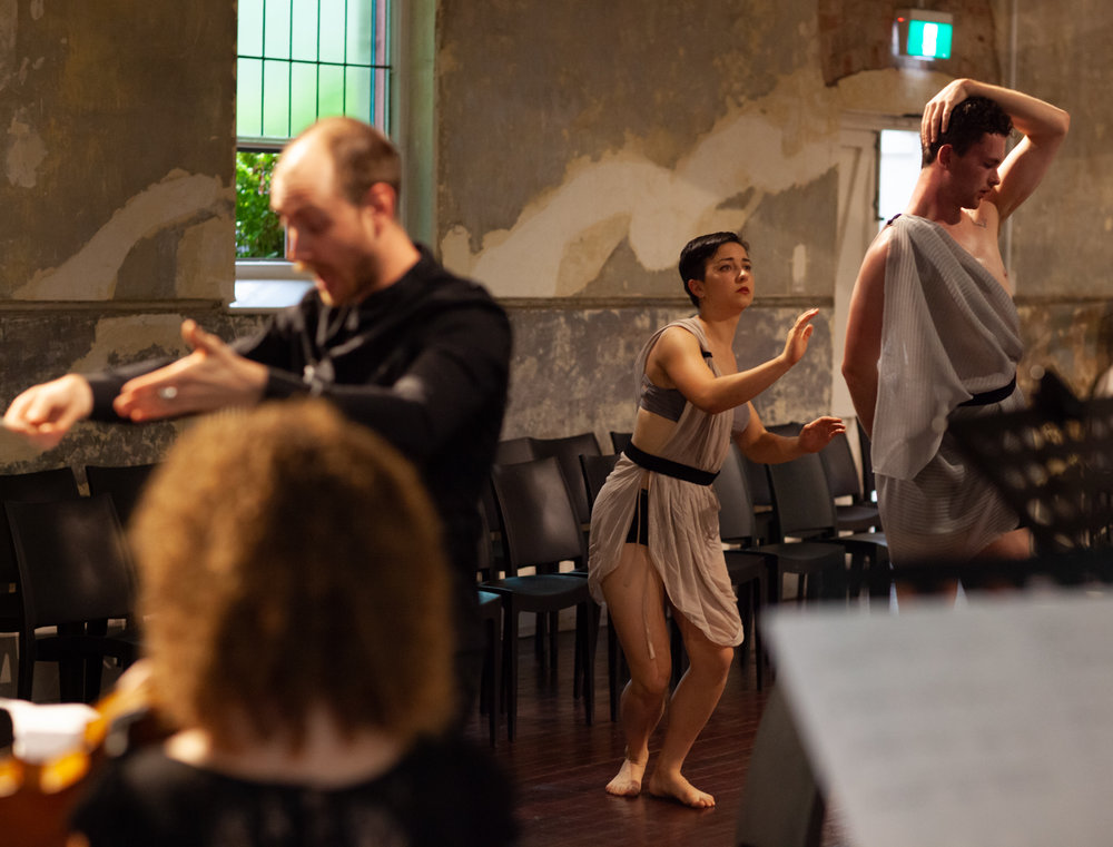 Conducting the premiere of Orpheus