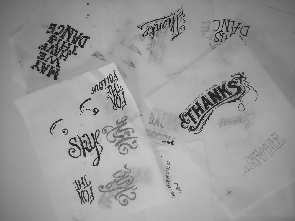 Typography Work - Various hand-done type