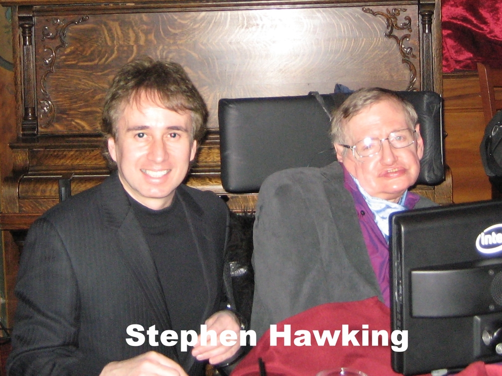 Stephen Hawking with magician Lou Serrano