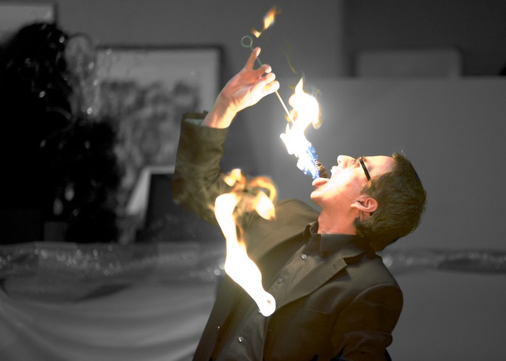 Fire eating at the opening of my show.