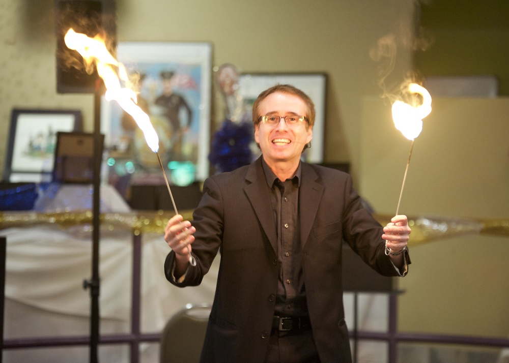 Magician, Lou Serrano, fire-eating