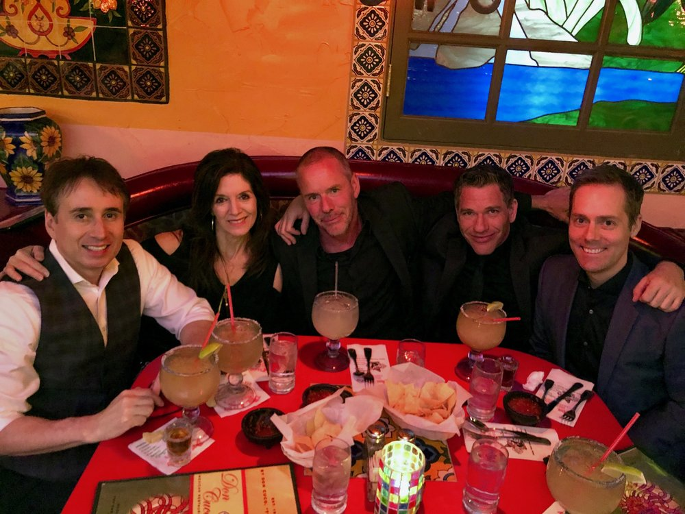 The magic crew. Lou Serrano, Dee Dee Serrano, Steve Wastell, Zach Waldman, and Joe Skilton. After performance dinner.