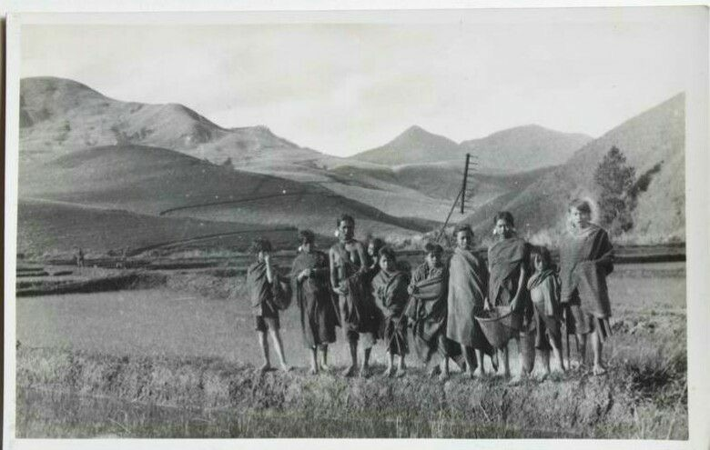 1900 - Early 1900's era photo of Bonneur'C Village, a small farming community at the foothills of Lang Biang mountain.