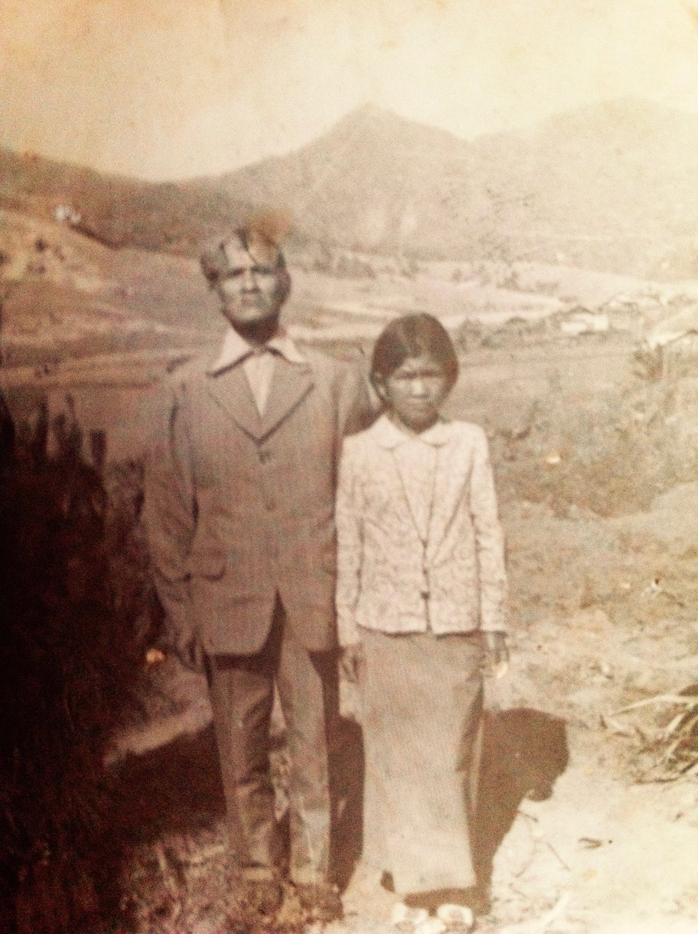 1955 - Photo from 1955of Mr. Brai and Mrs.Co Lieng at their family coffee farm in Bonneur' C Village at the base of Lang Biang Mountain.