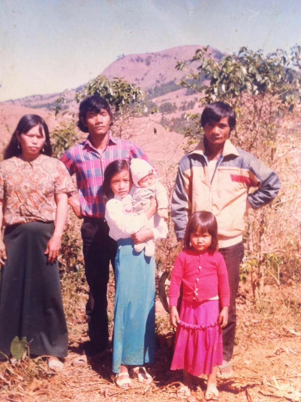 1989 - Coffee production resumed in the 1980's-1990's.  Picture: Co Lieng's family farm, with original arabica trees, Bonneur'C Village, Lac Duong, Vietnam.