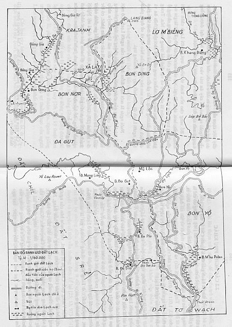 1880 - A 19th century Map of K'Ho villages in the territory surrounding Mt. Lang Biang.