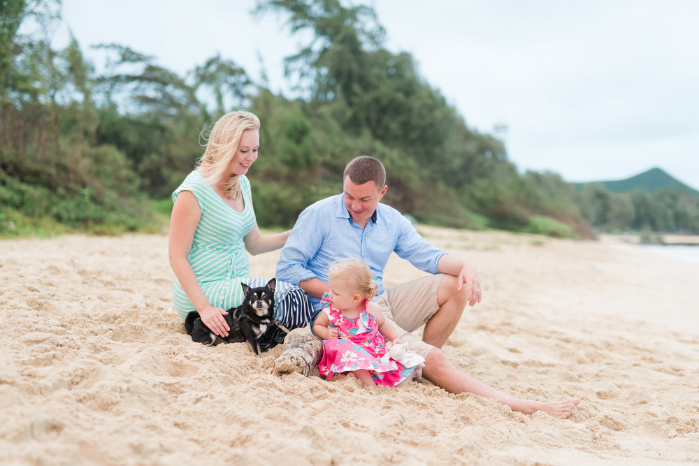 Oahu Maternity Photographer | Bellows Maternity Family Beach Session