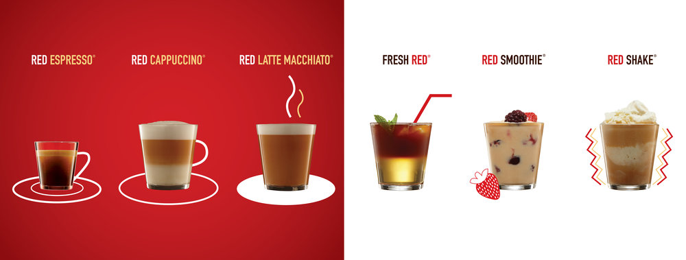 Try our Red Espresso Drinks! No caffeine, high in antioxidants, rooibos Tea! Find our more about Red Espresso.