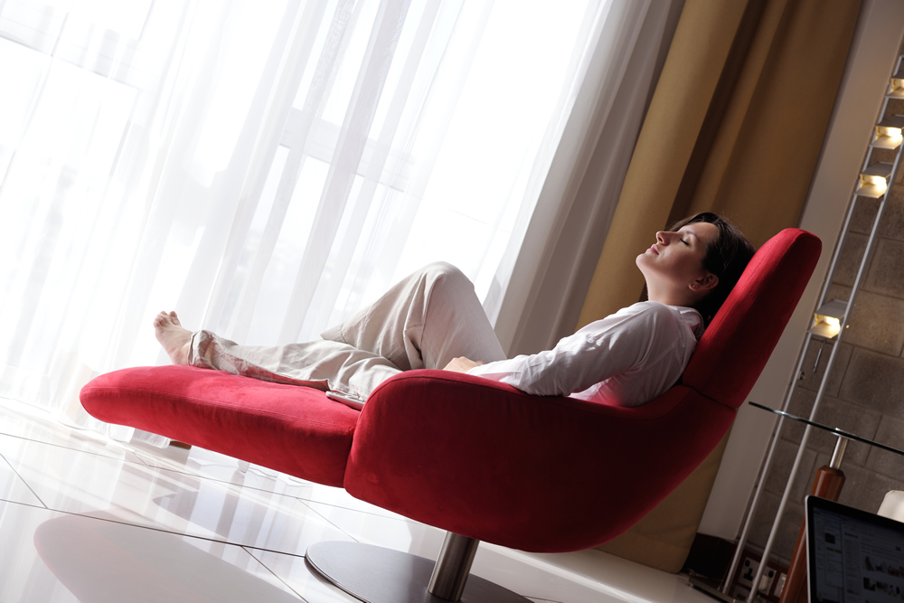 Woman enjoying underfloor heating