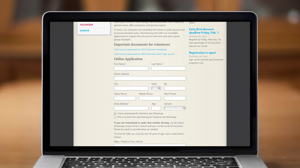 Web – Workshop – Volunteer Application