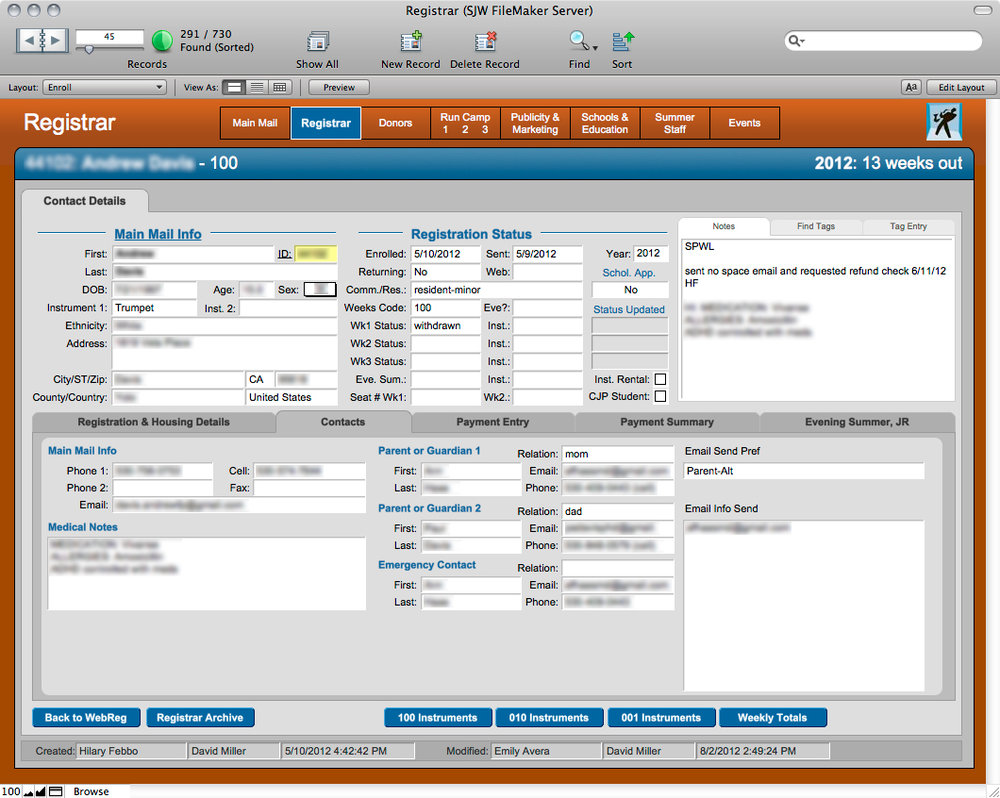 Example of a Student Record in the Filemaker Database