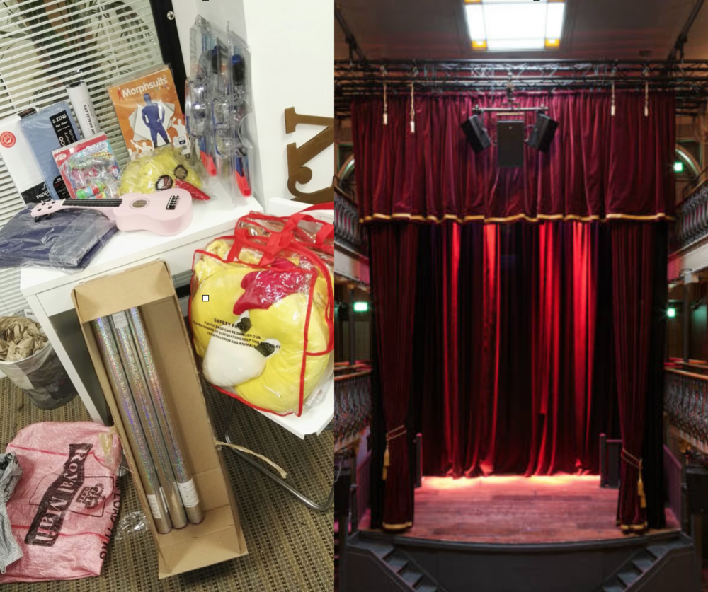 Some of the initial props, and the brilliant Hoxton Hall theatre