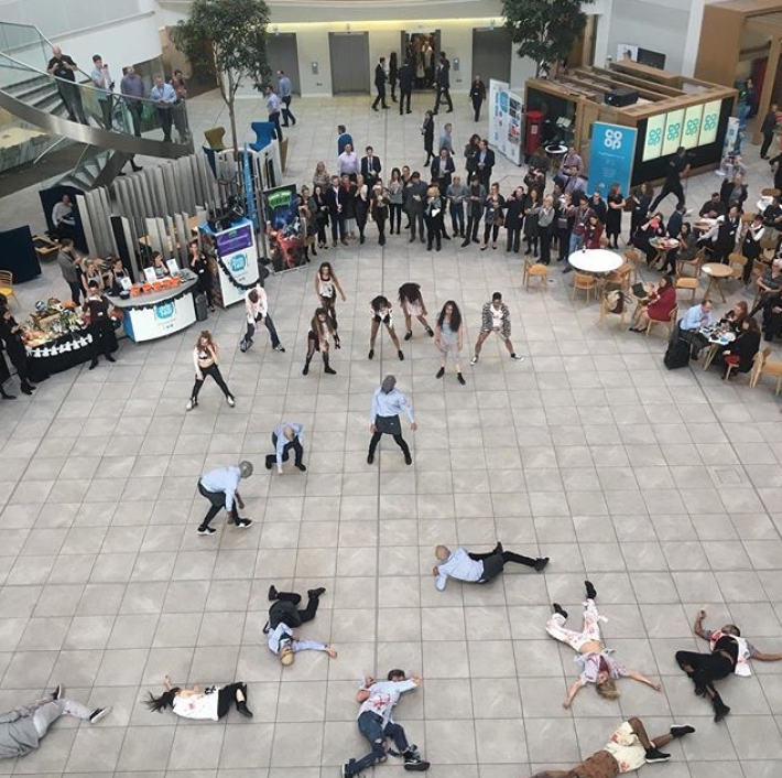 A 20 person zombie flash mob for the Co-Op