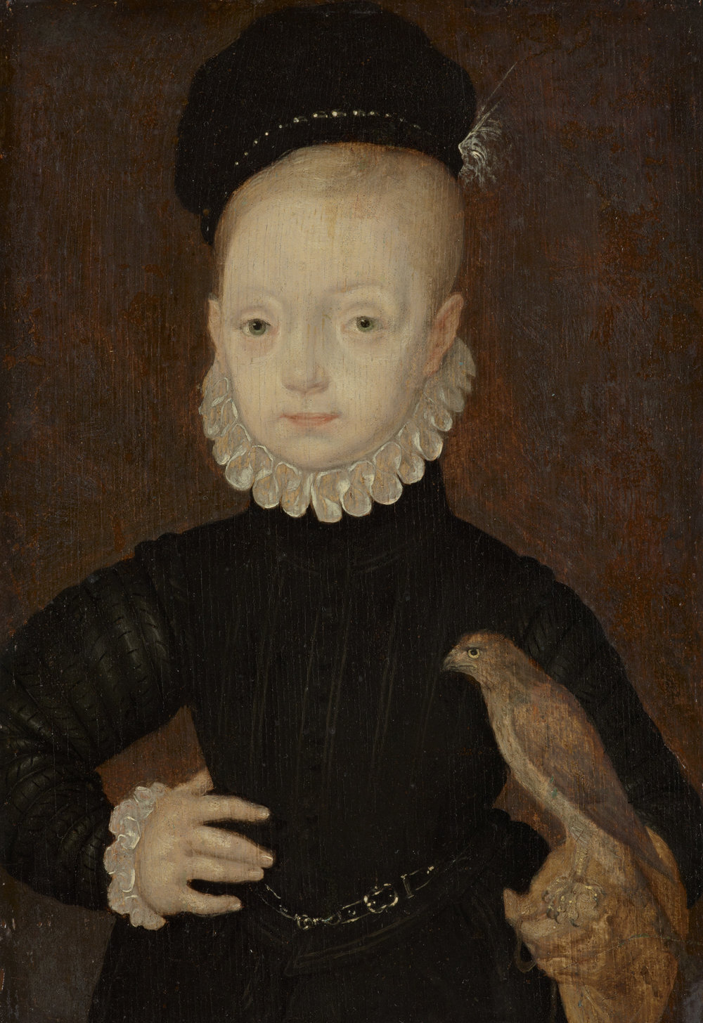 Arnold Bronckorst:  James VI and I, 1566 - 1625. King of Scotland 1567 - 1625. King of England and Ireland 1603 - 1625 (as a boy).  Noin 1574. National Galleries of Scotland.  https://www.nationalgalleries.org/art-and-artists/2853/james-vi-and-i-1566-1625-king-scotland-1567-1625-king-england-and-ireland-1603-1625-boy