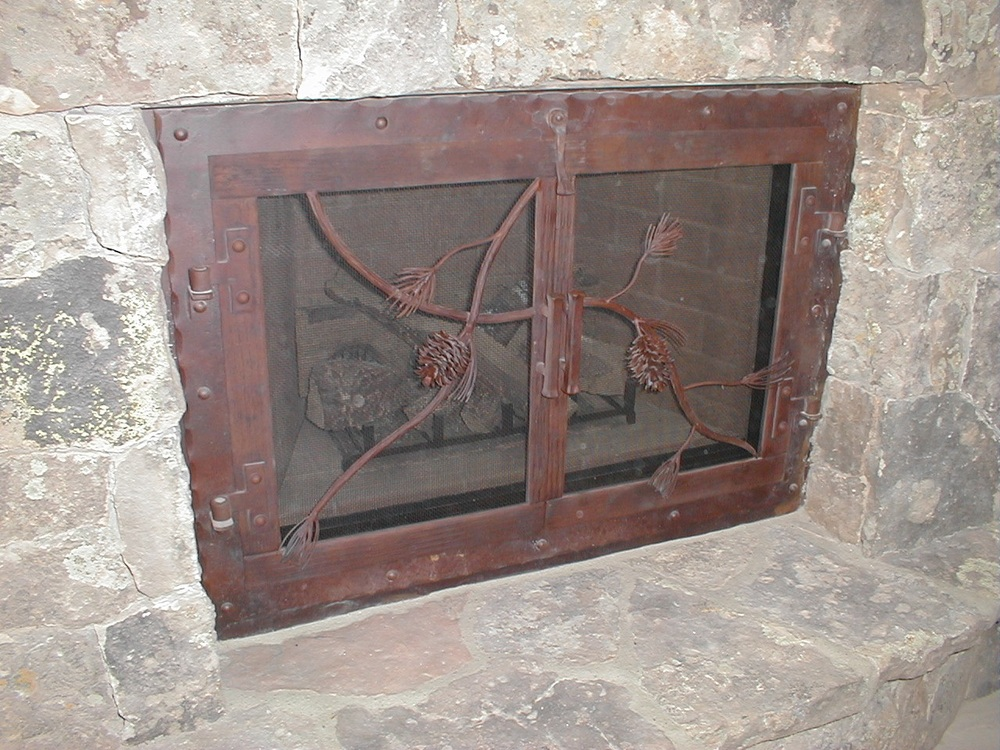 Pine Cone Fireplace Doors