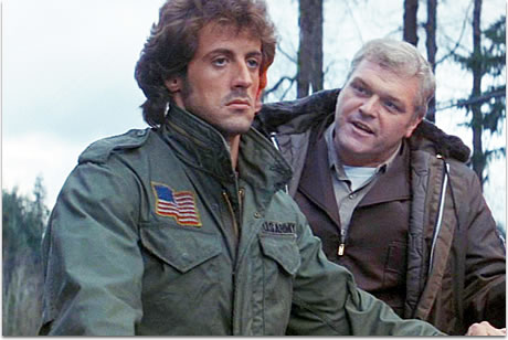 Stallone throws shade at Brian Dennehy in a stylish M-65. RAMBO: First Blood (1982)