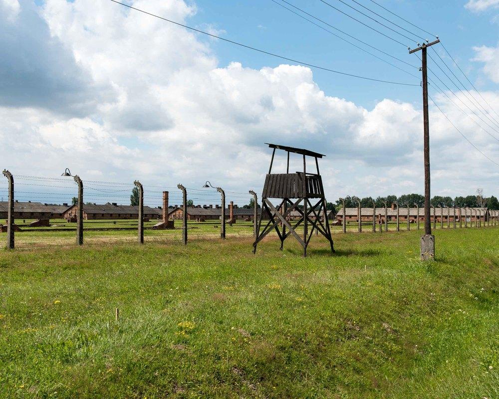 Guard tower at Auschwitz-Birkenau