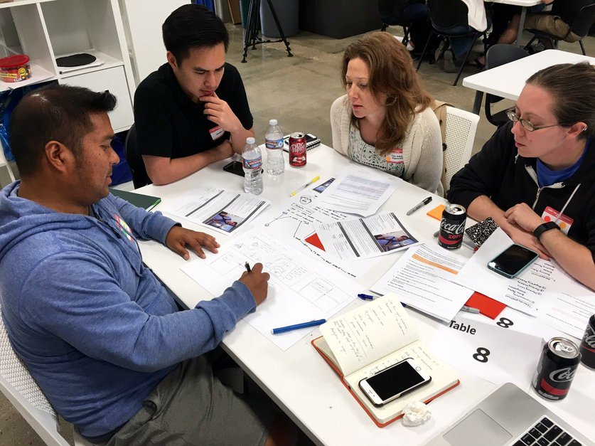 """Group members Michael Novido, Sergio Leon, Tori Adele Signorelli and Erica Fontana work to understand the priorities of their persona at the SDXD civic design workshop. """"Towed Joe"""" is an active, downtown resident who cares about city transportation and recreation.  — Jennifer Van Grove"""