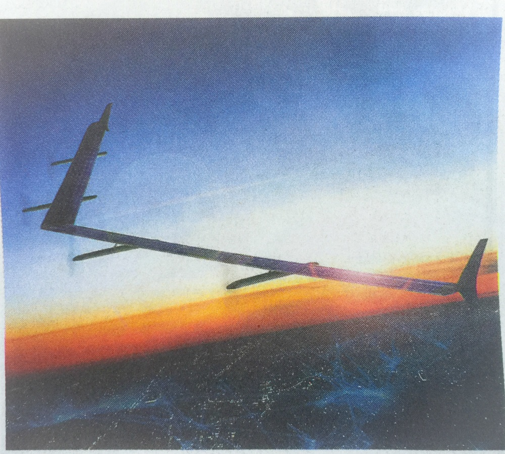 Rendering of Facebooks solar powered drone with a wingspan of a Boeing 747 that beams internet access down to earth.
