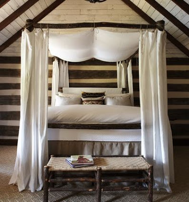 jeff+herr+photography+rustic+bedroom+paneled+wood+walls+stripe+branch+bed+four+poster+canopy.JPG