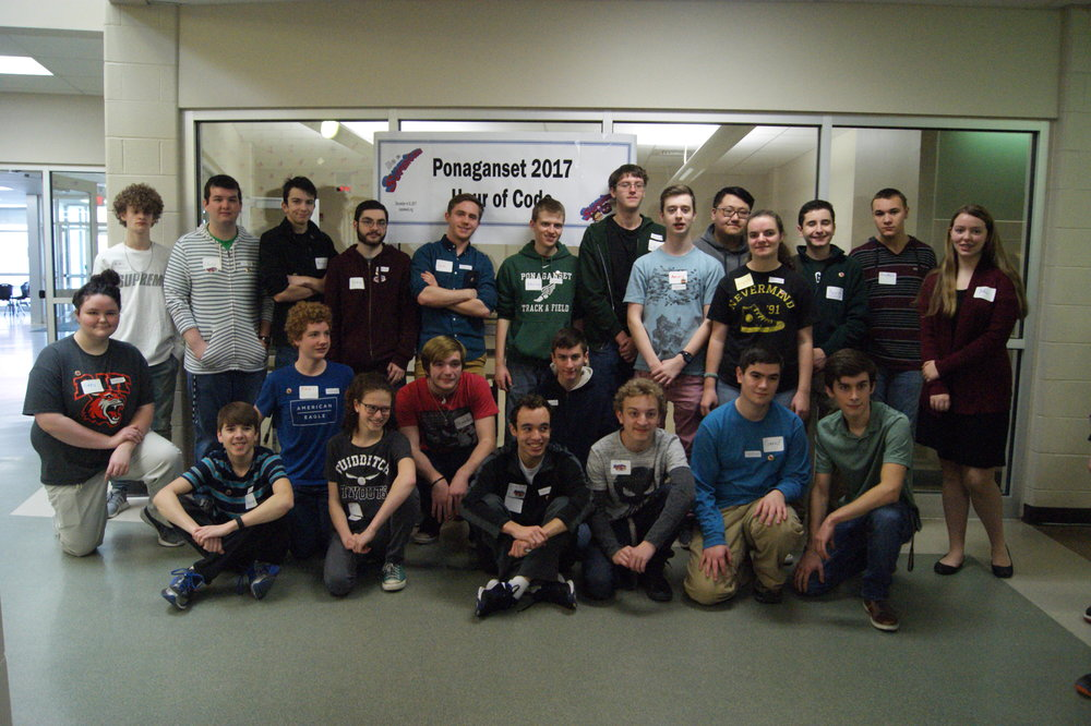All of the volunteers from the Highschool who helped out at hour of code at the middle school