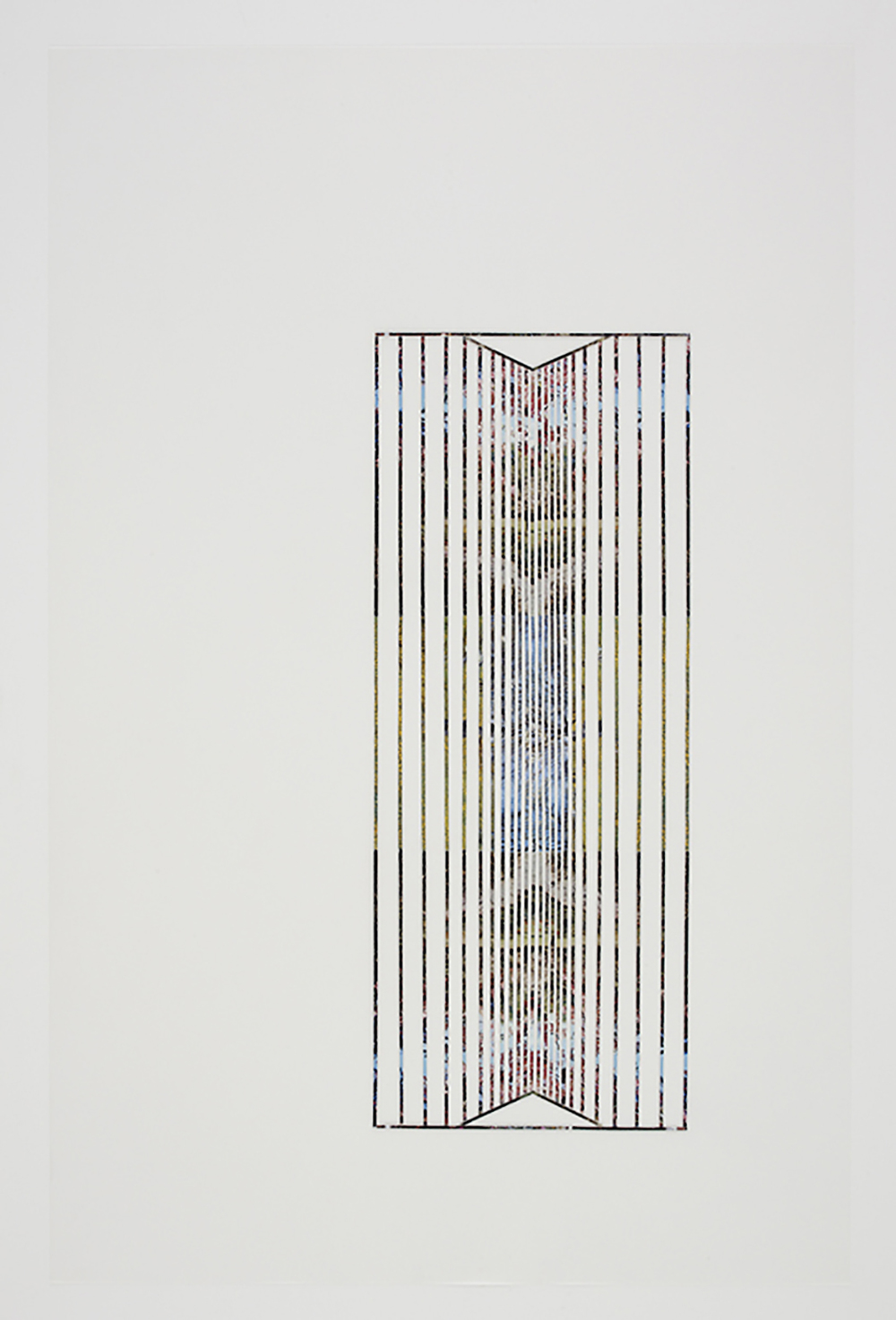 Roof #5, 2010, collage on drafting film paper, 34 x 22 inches/ 86 x 56 cm
