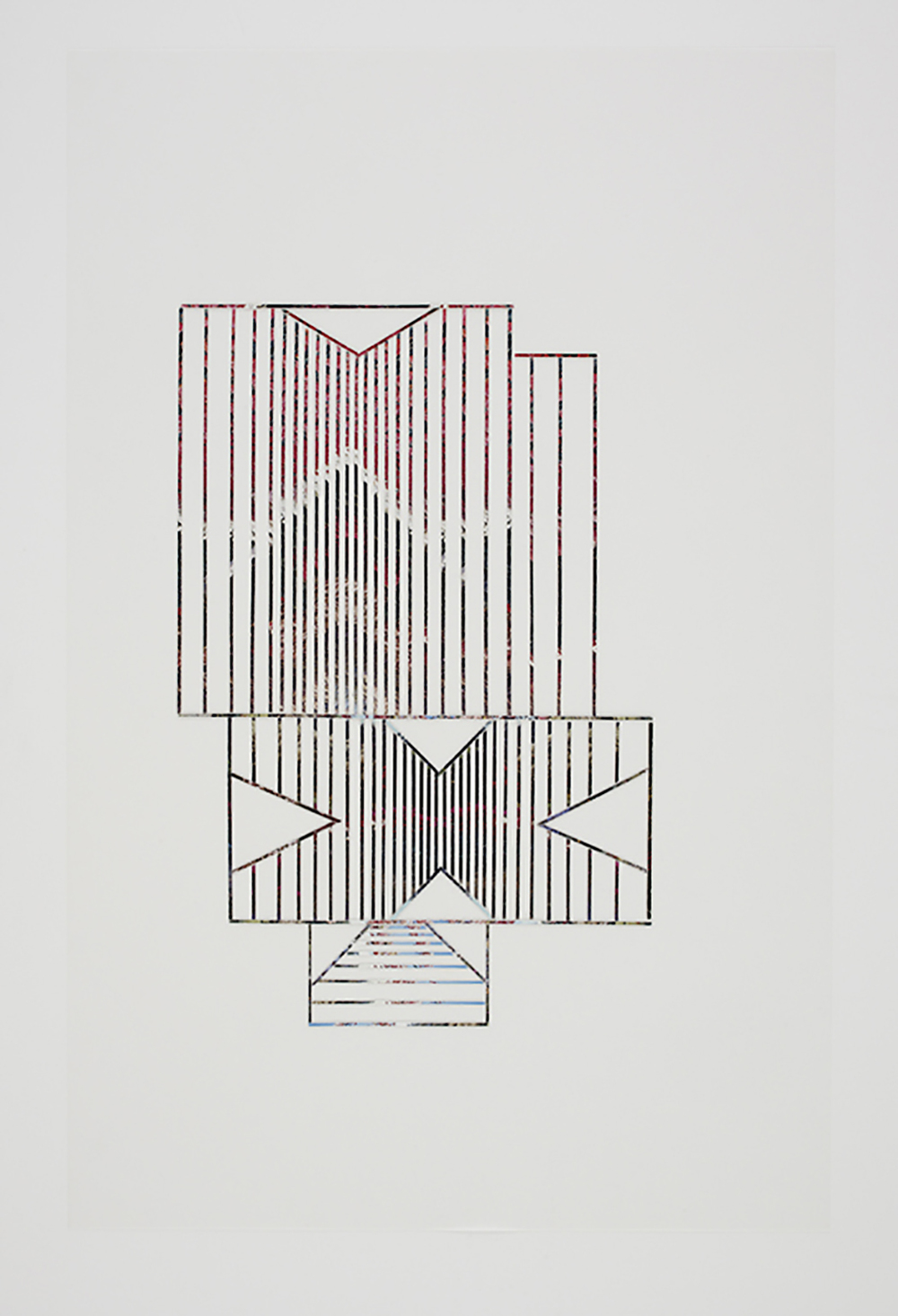 Roof #12, 2010, collage on drafting film paper, 34 x 22 inches/ 86 x 56 cm