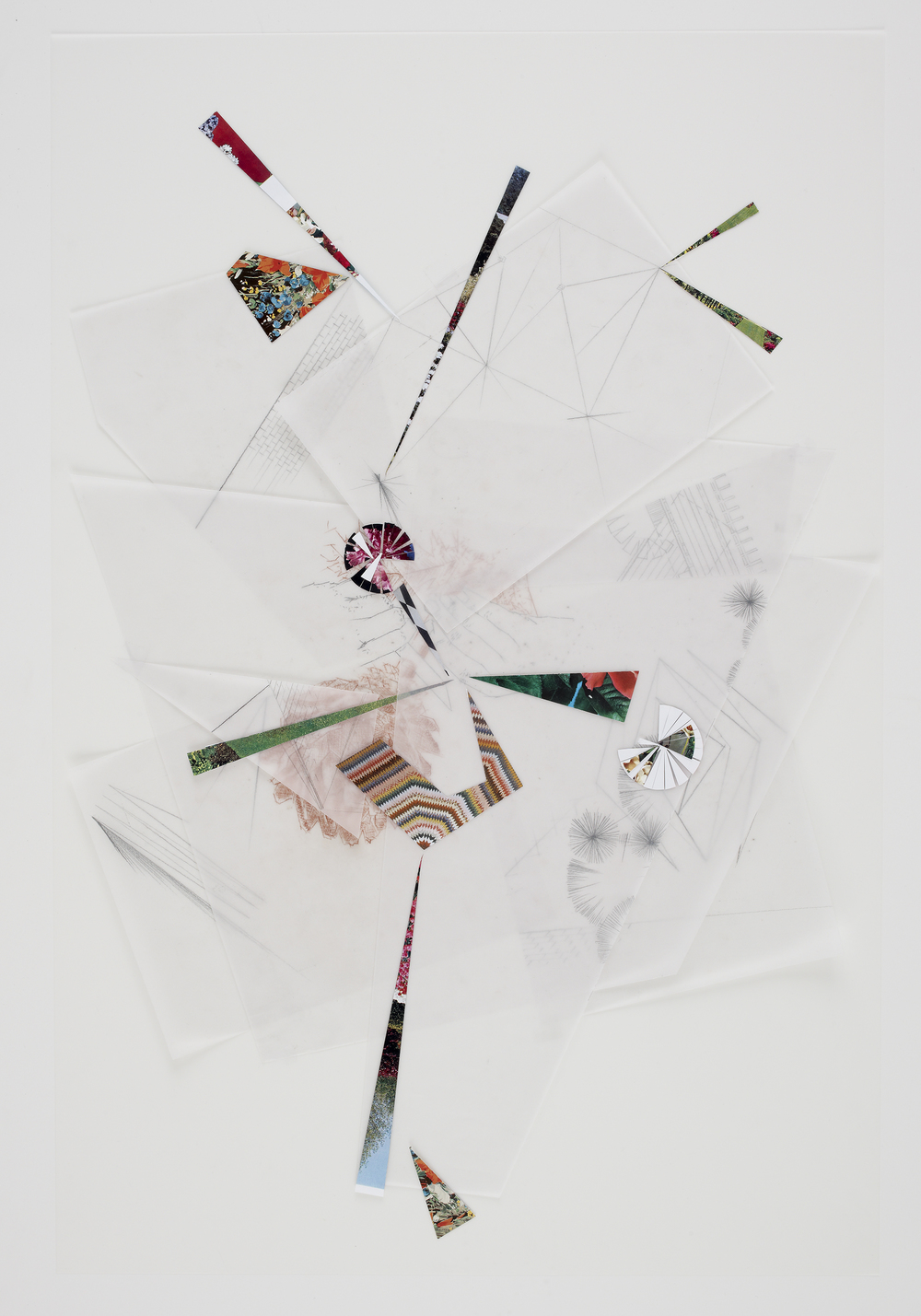 Untitled, 2010, collage, pencil and sanguine on tracing paper, 34 x 22 inches/  86 x 56 cm