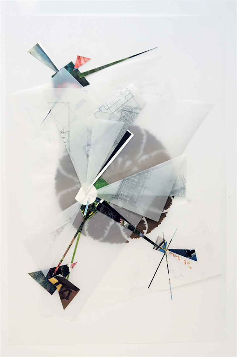 Untitled, 2010, collage and pencil on tracing paper, 34 x 22 inches/ 86 x 56 cm