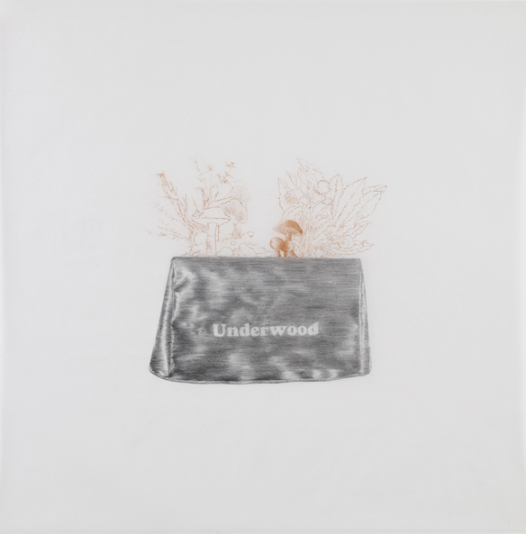 Duchamp , 2010, pencil and sanguine on tracing paper, 41 x 41 inches/ 104 x 104 cm